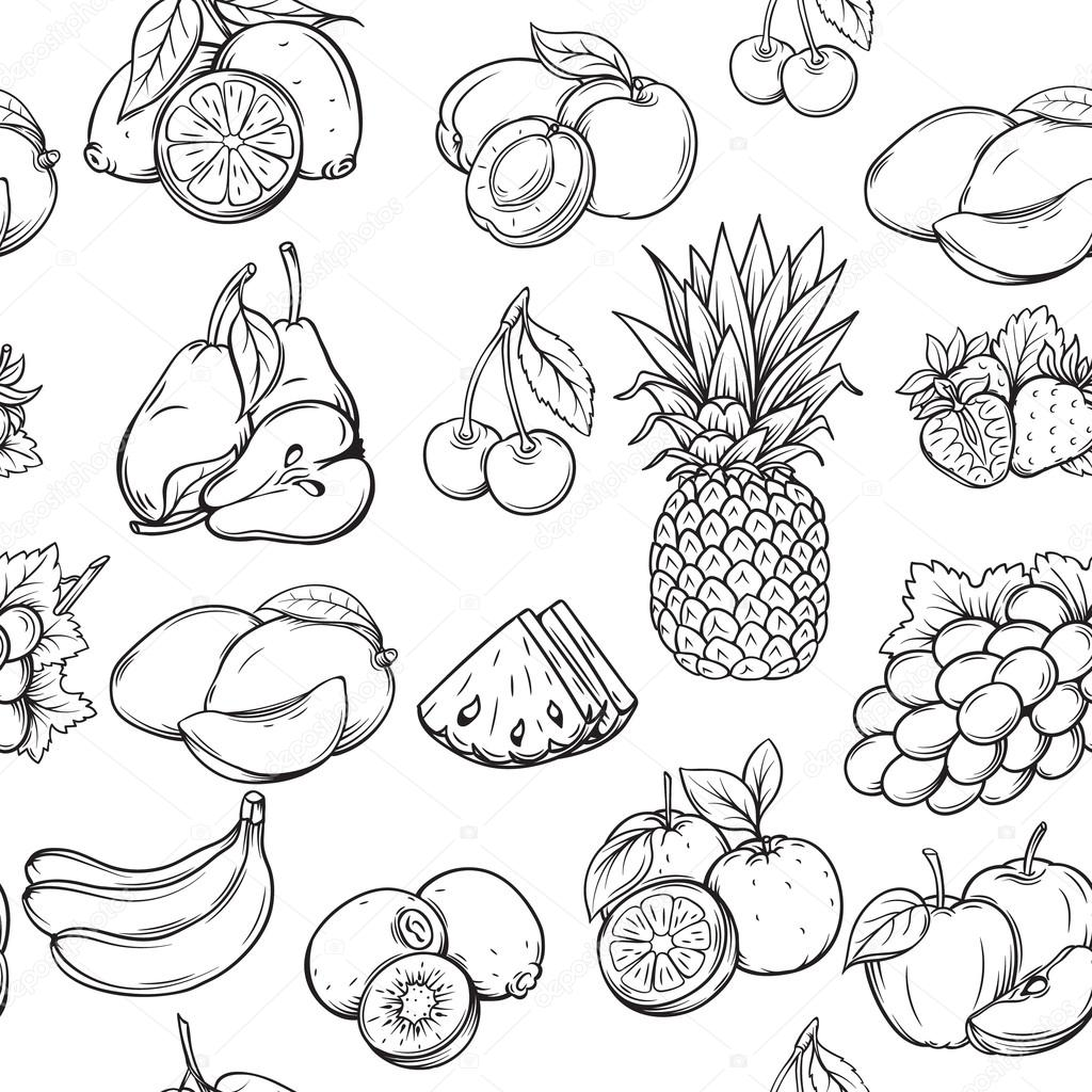 1024x1024 Hand Draw Fruits Pattern. Stock Vector Tory