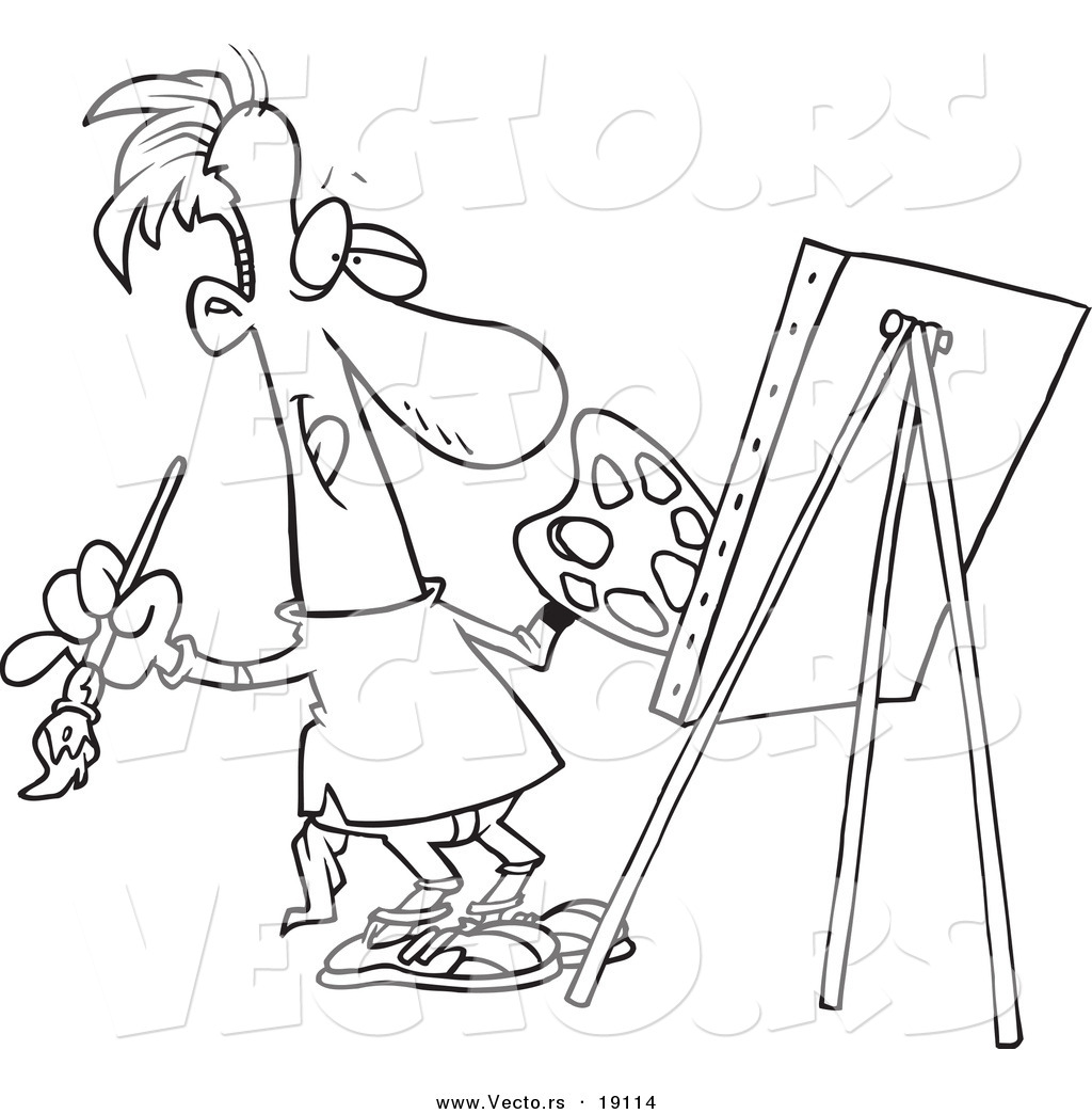 1024x1044 Vector Of A Cartoon Male Artist Painting His Masterpiece