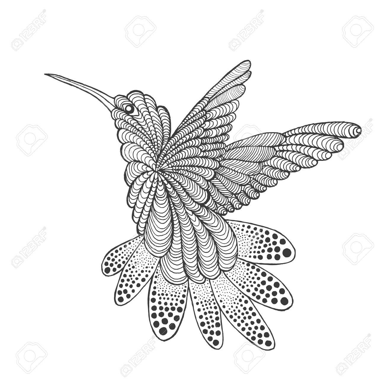 1300x1300 Zentangle Stylized Hummingbird. Animals. Black White Hand Drawn
