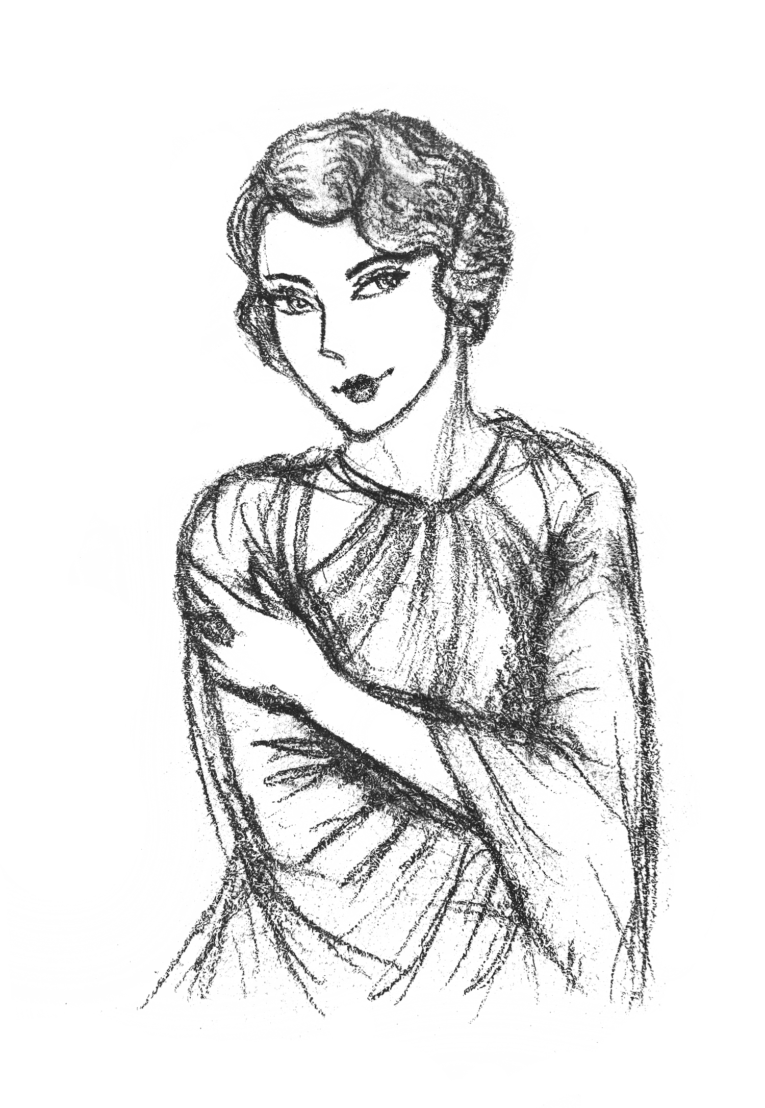 1950s Woman Drawing