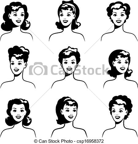 450x470 50s Pin Up Girl Sketch Vectors Illustration Collection
