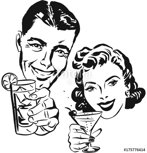 481x500 Smiling 1950s Couple Raising A Toast With Cocktail Glasses Stock