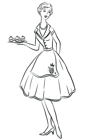 339x480 1950's Housewife Coloring Page Free Printable Coloring Pages