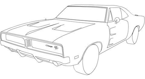 480x261 1969 Dodge Charger Rt Coloring Page Free Printable Coloring Pages