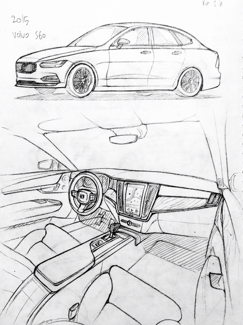 852x1136 Car Drawing 151206 2015 Volvo S60 Prisma On Paper. Kim.j.h Cars