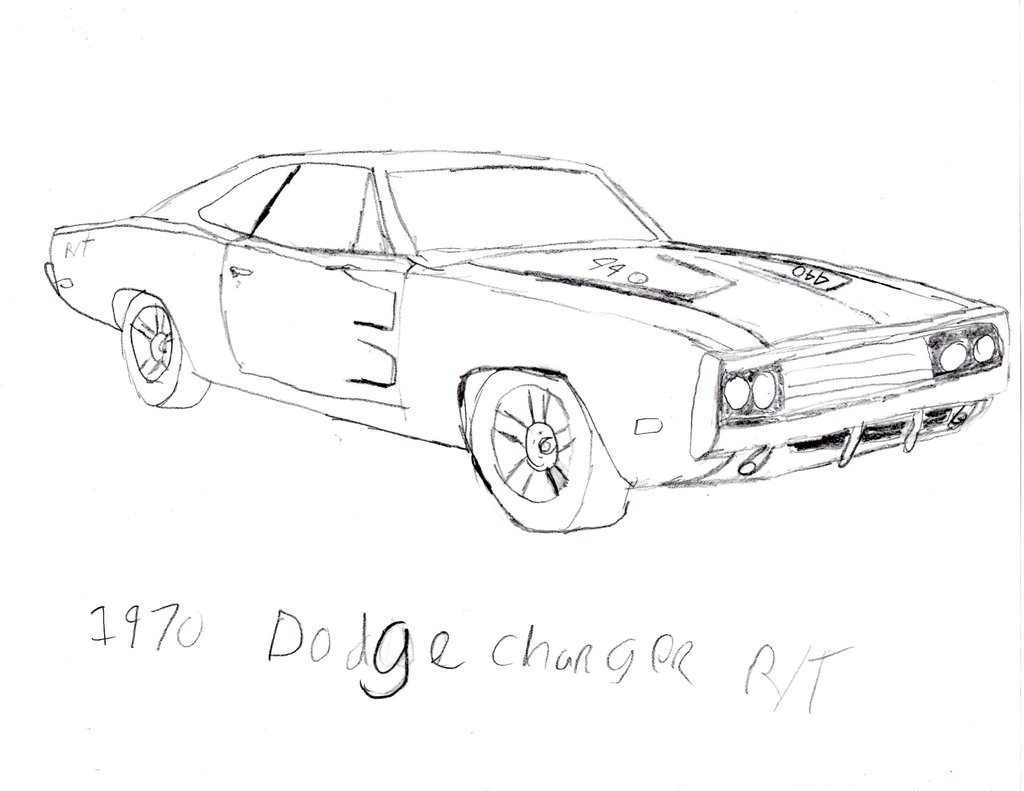 1024x791 1970 Dodge Charger Rt Drawing By Jtkirk1701
