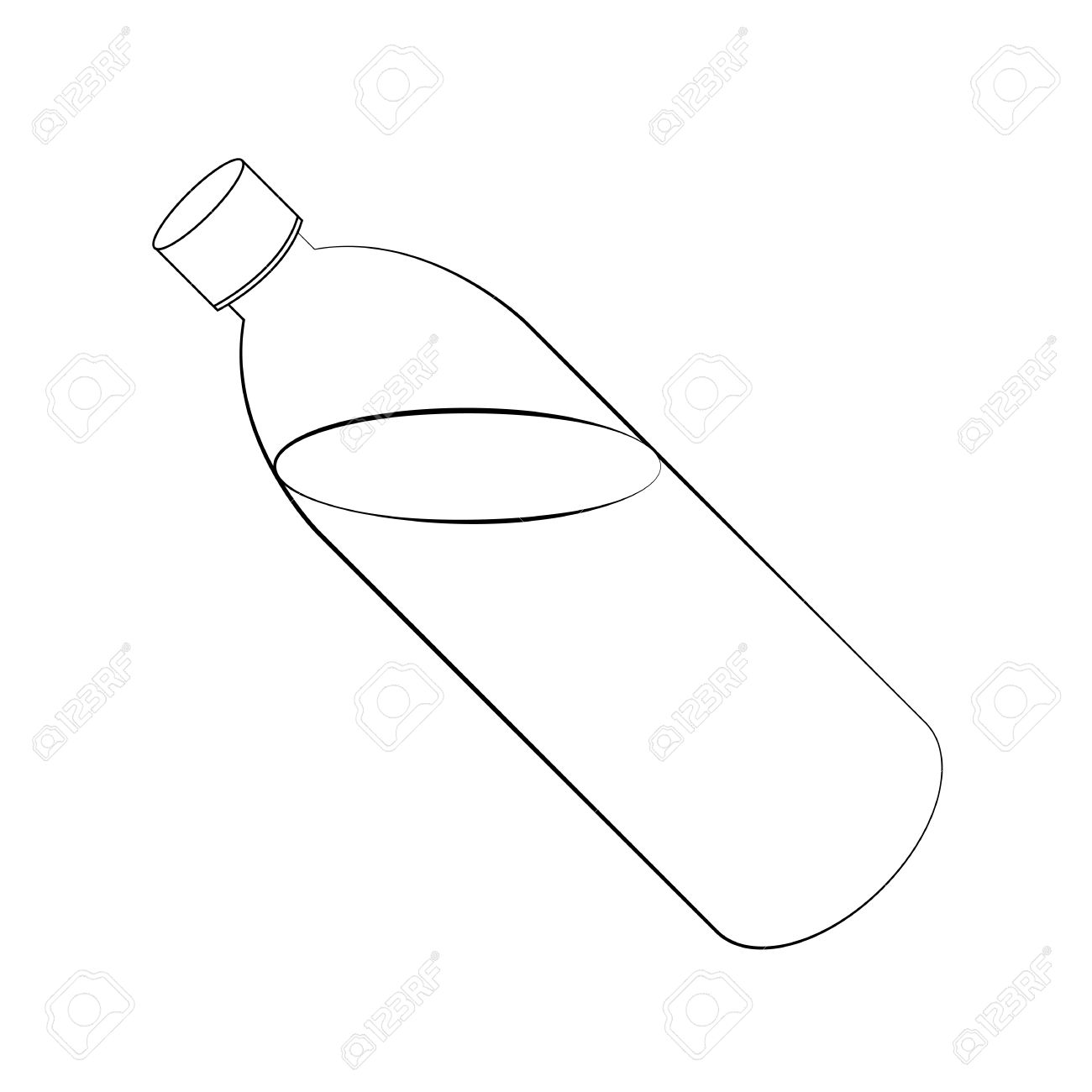 1300x1300 Black Outline Vector Water Bottle On White Background. Royalty