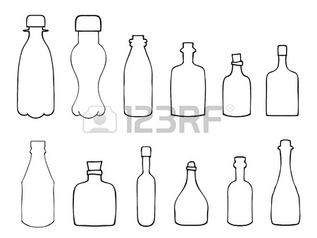 450x338 Vector Single Sketch Plastic Bottle Of Water On White Background