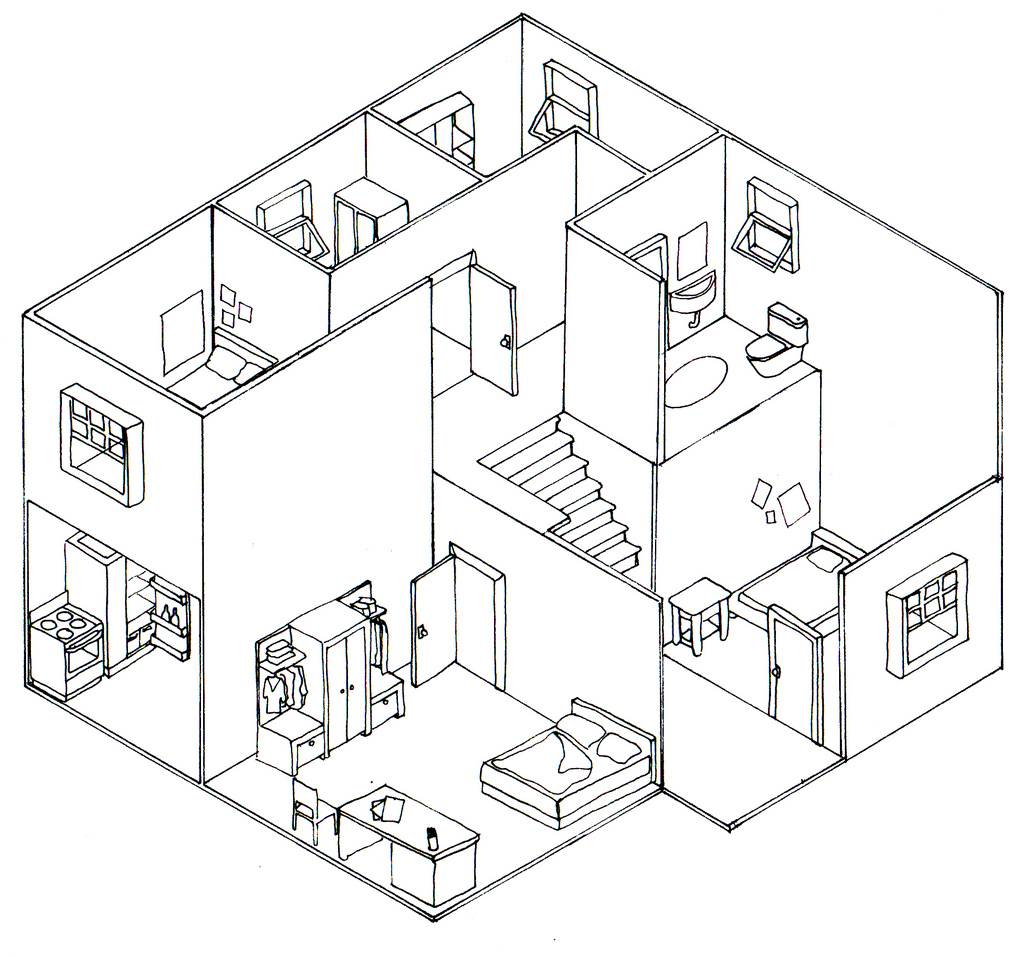 1024x957 3D Or Pictorial Drawing How To Draw A House 3D In Two Point
