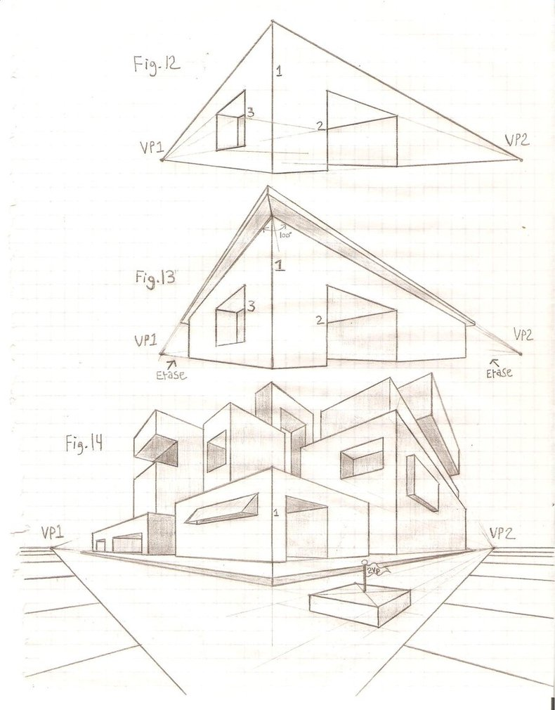 3d Perspective Drawing Room: 2 Point Perspective House Drawing At GetDrawings