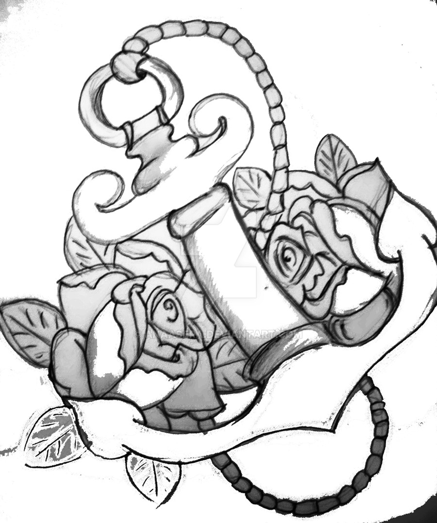 900x1075 Anchor And Roses 2 By Anaasera