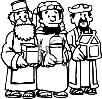 350x339 Cartoon Of The Three Wise Men Bearing Gifts