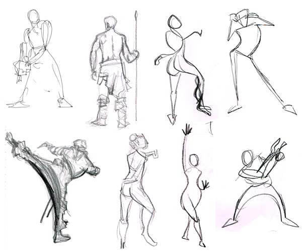 600x500 Examples Of Gesture Drawings In Both Pen And Pencil