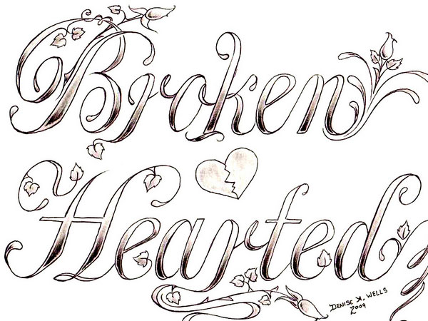 600x450 Drawn Vines In Hearts Broken Hearted 30 Mind Blowing Tattoo