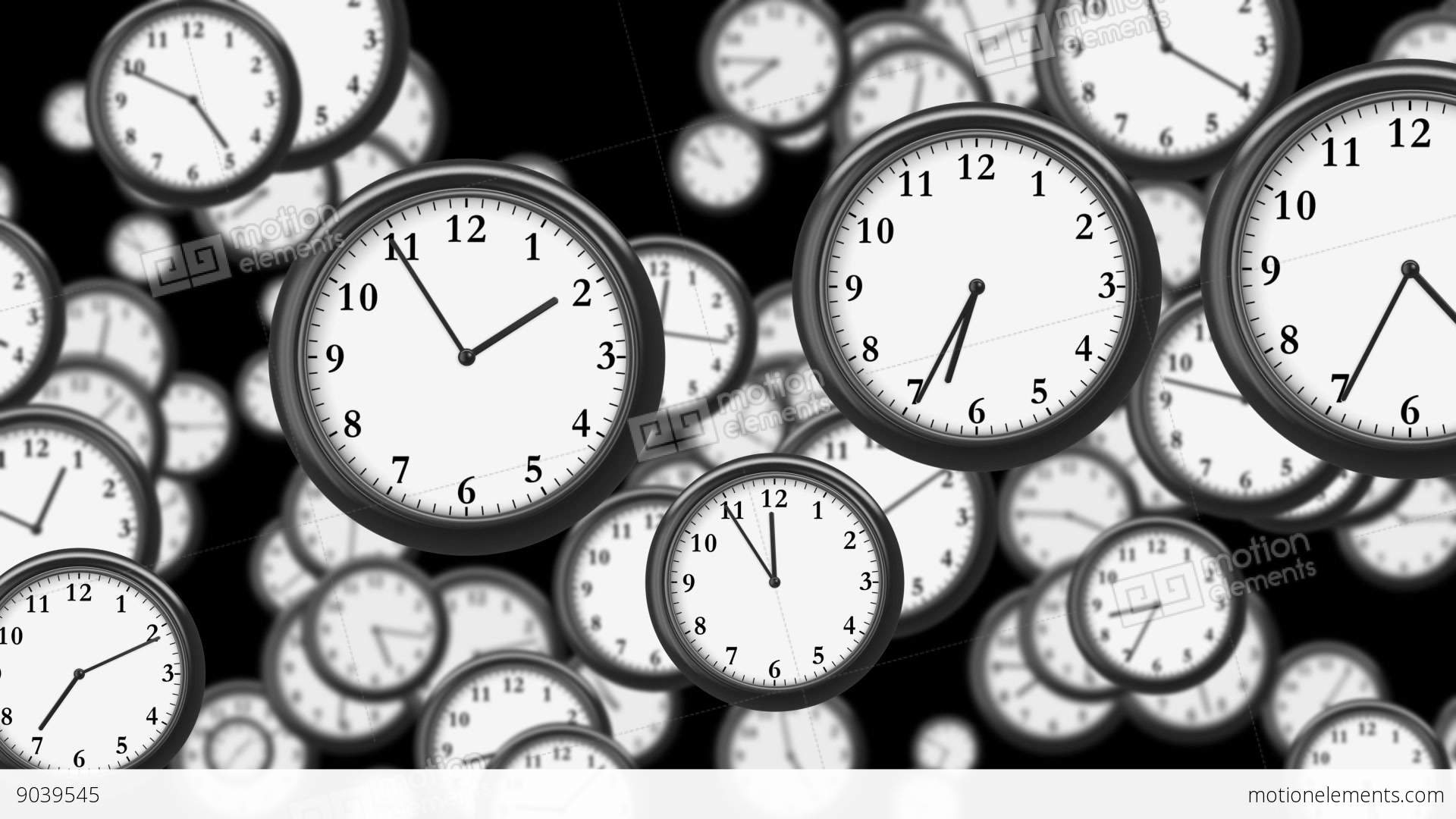 1920x1080 Many Clocks Flying In Time Lapse In 3d Animation. Time Concept