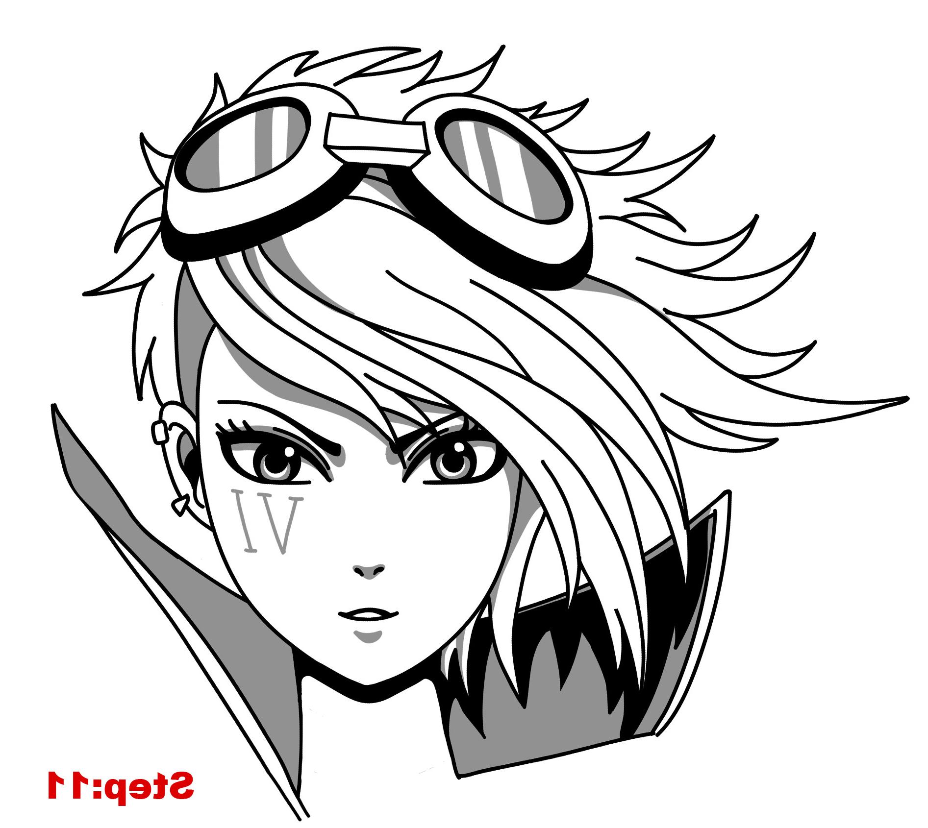 1893x1690 3d Cartoon Girl Face Draw Steps