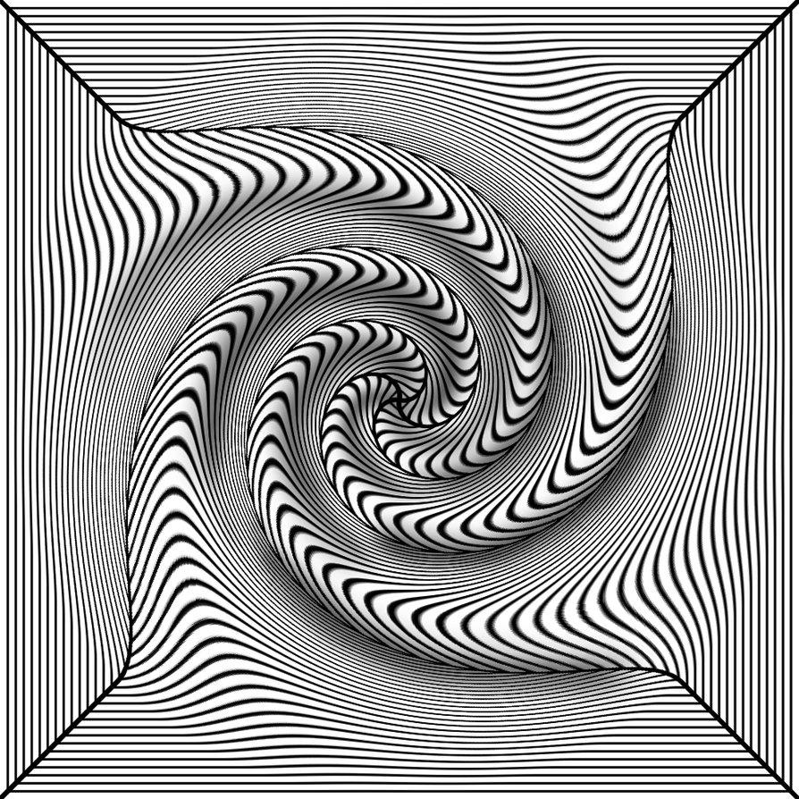894x894 Black White 3d Twist By Trip Artist