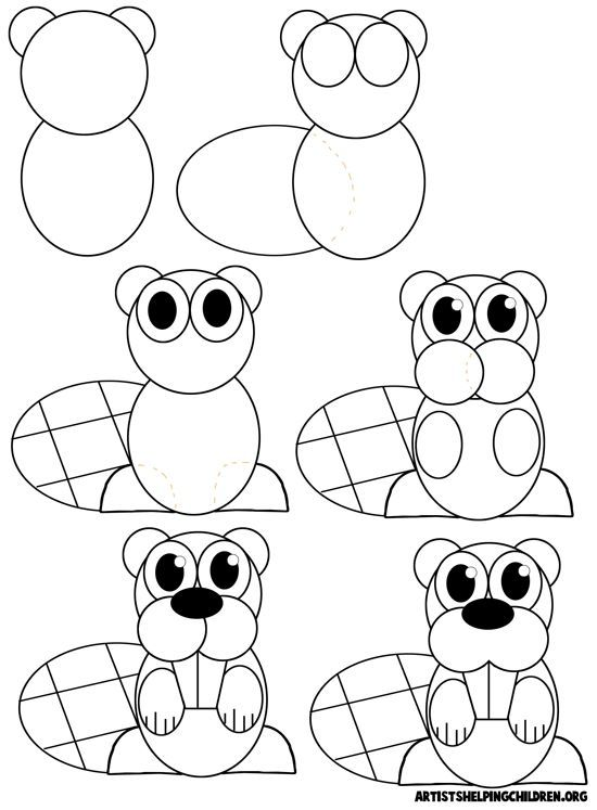 550x747 How To Draw Cartoon Beavers Really Easy Drawing Ideas