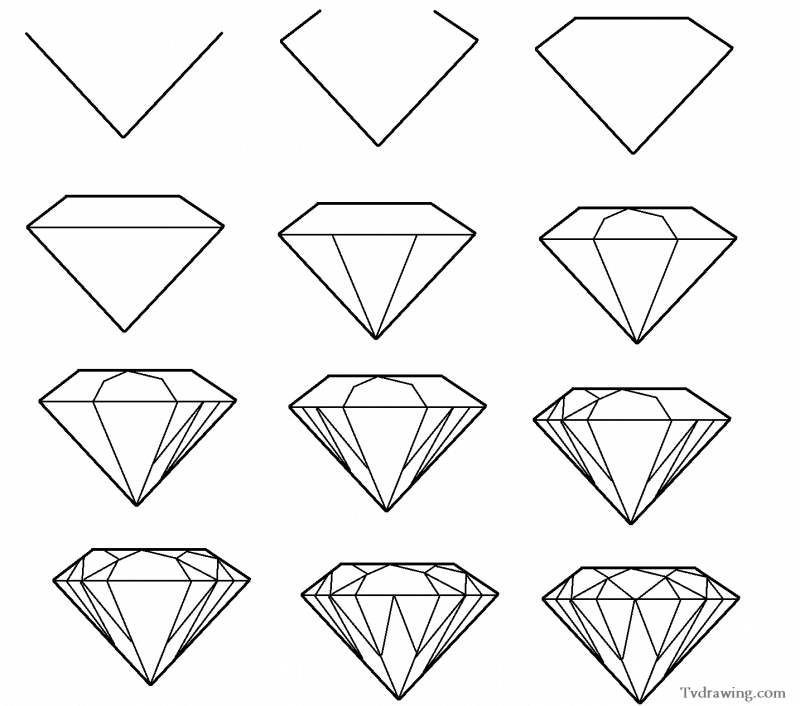 800x706 How To Draw A Simple Diamond Gemstone Pattern Easy Free Step By