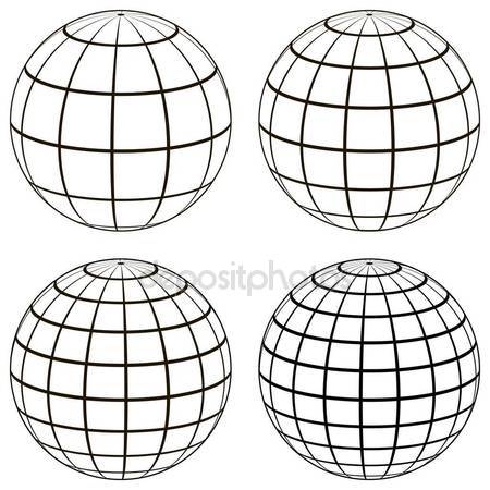 450x450 Set 3d Ball Globe Model Of The Earth Sphere With A Coordinate Grid