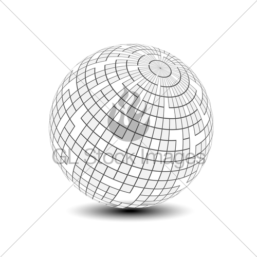 500x500 Vector Globe Symbol 3d Icon Of Sphere, Squared Pattern Gl