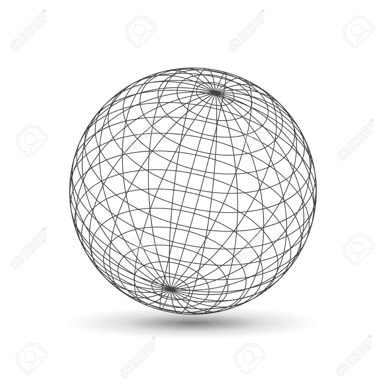 1300x1300 Wireframe Globe Icon, 3d Version Design Template Vector Stock