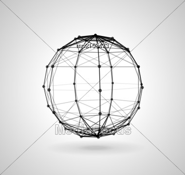 380x360 Wireframe Polygonal Element 3d Sphere Lines Dots Vector