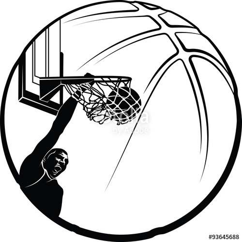 500x500 Black And White Vector Illustration Of A Silhouette Basketball