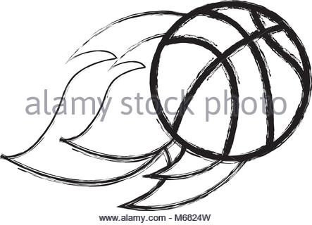 443x320 Flying Basketball On Fire. Illustration On Black Background Stock