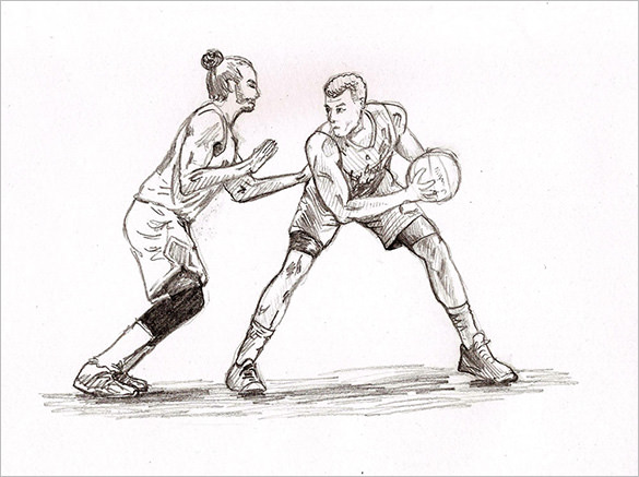 585x437 Fantastic Basketball Drawings To Download! Free Amp Premium