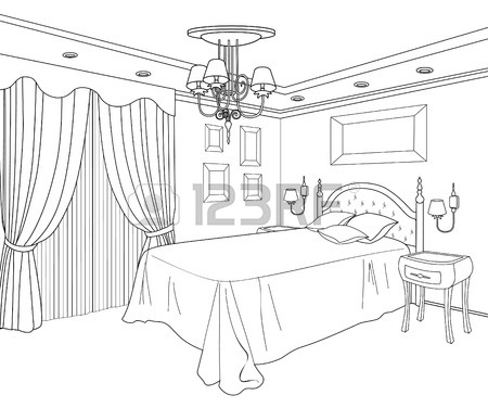 450x376 Bedroom Furniture. Editable Vector Illustration Of An Outline