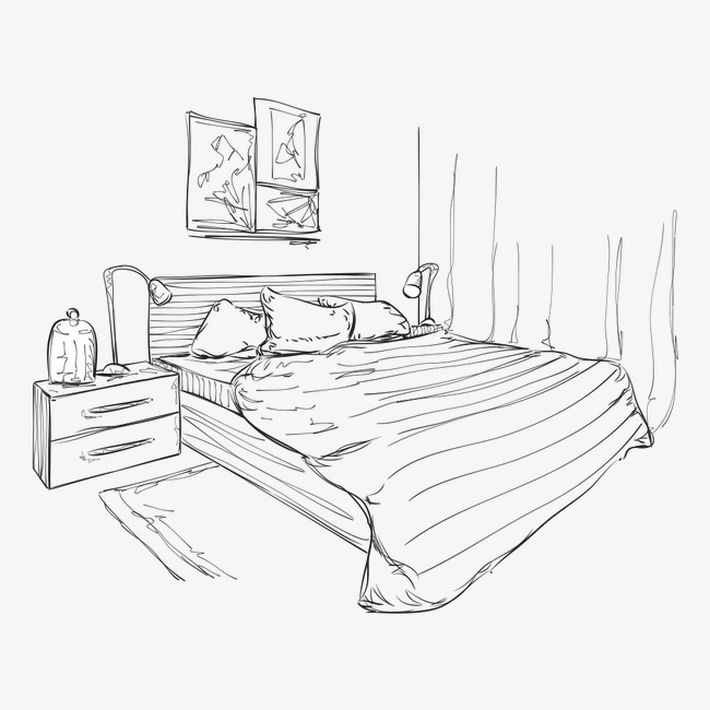 650x650 Bedroom Sketch, Sketch, Bedroom, Bed Png And Vector For Free Download