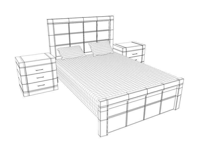 800x600 Dark Wooden Bed 3d Model Low Poly Cgtrader