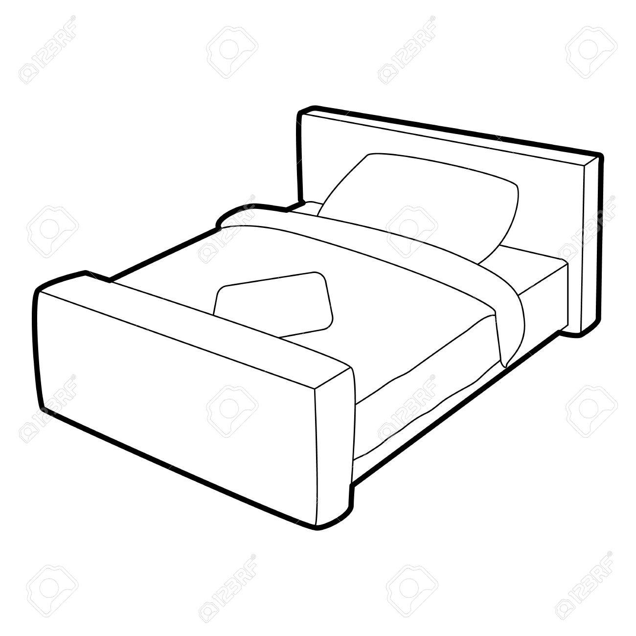1300x1300 Double Bed Icon. Isometric 3d Illustration Of Double Bed Vector