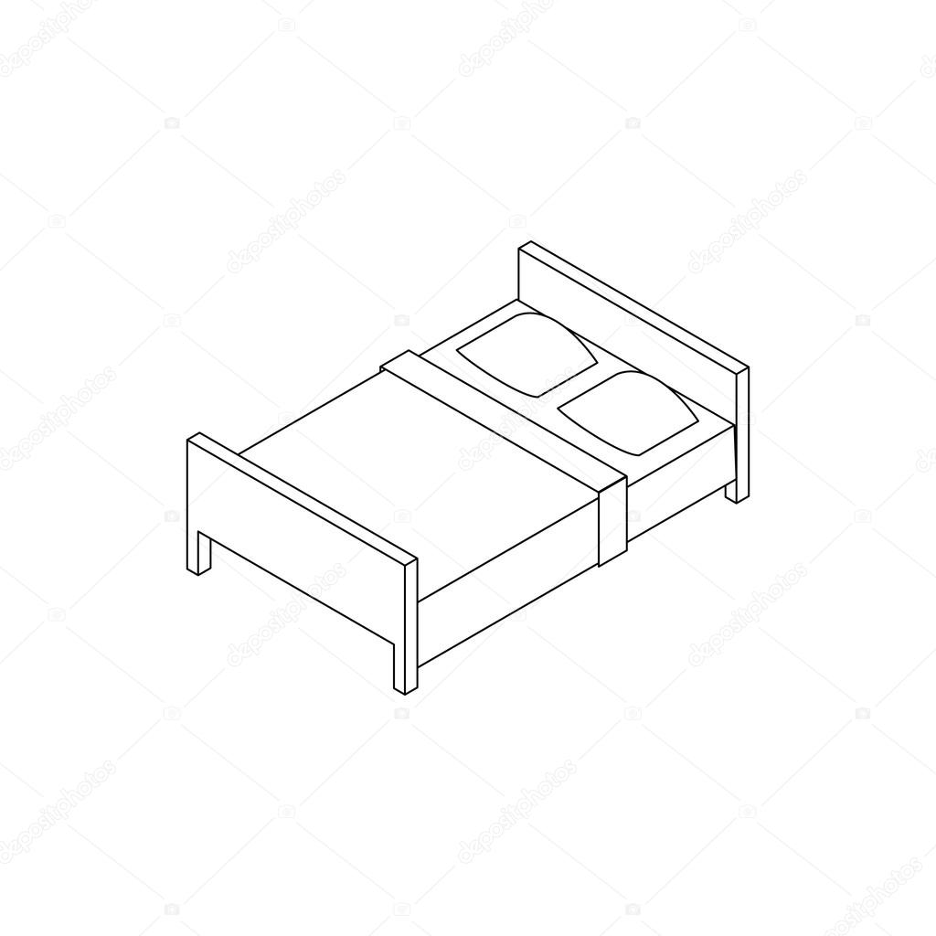 1024x1024 Double Bed Icon, Isometric 3d Style Stock Vector Ylivdesign