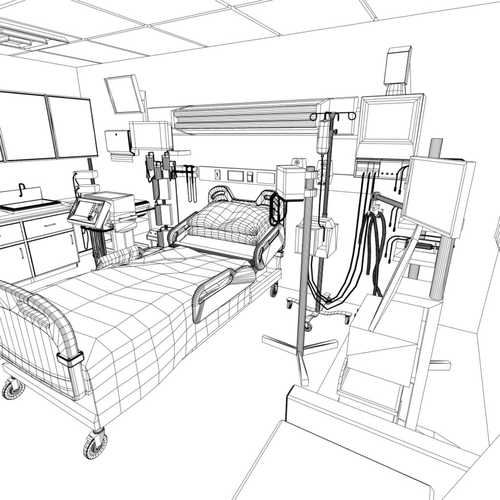 1024x1024 Hospital Recovery Room 3d Model In Medical Equipment 3dexport