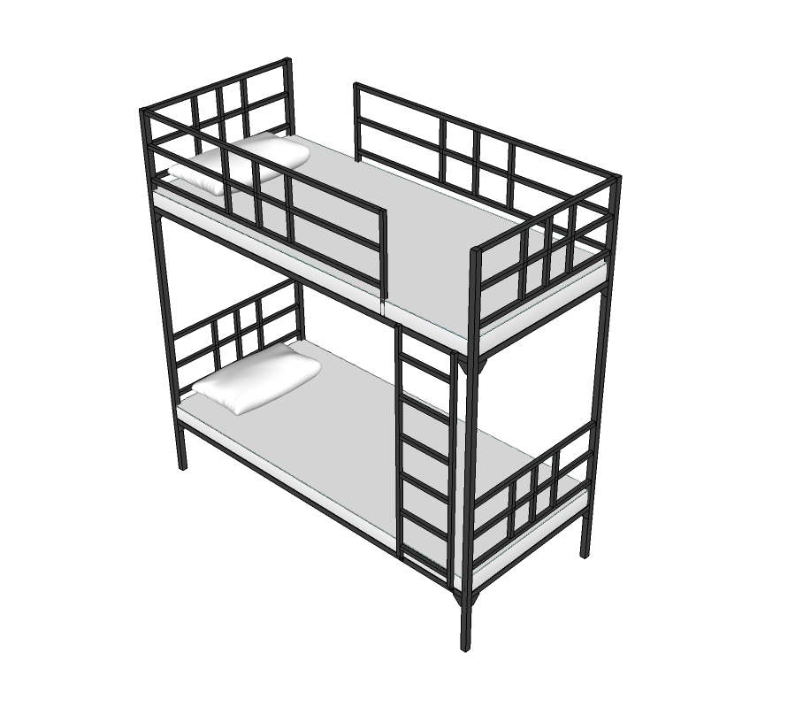 908x816 Hostel Bunk Bed Sketchup Block