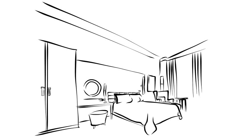 852x480 Modern Hotel Room Kig Size Bed Animation. Illustration Outline
