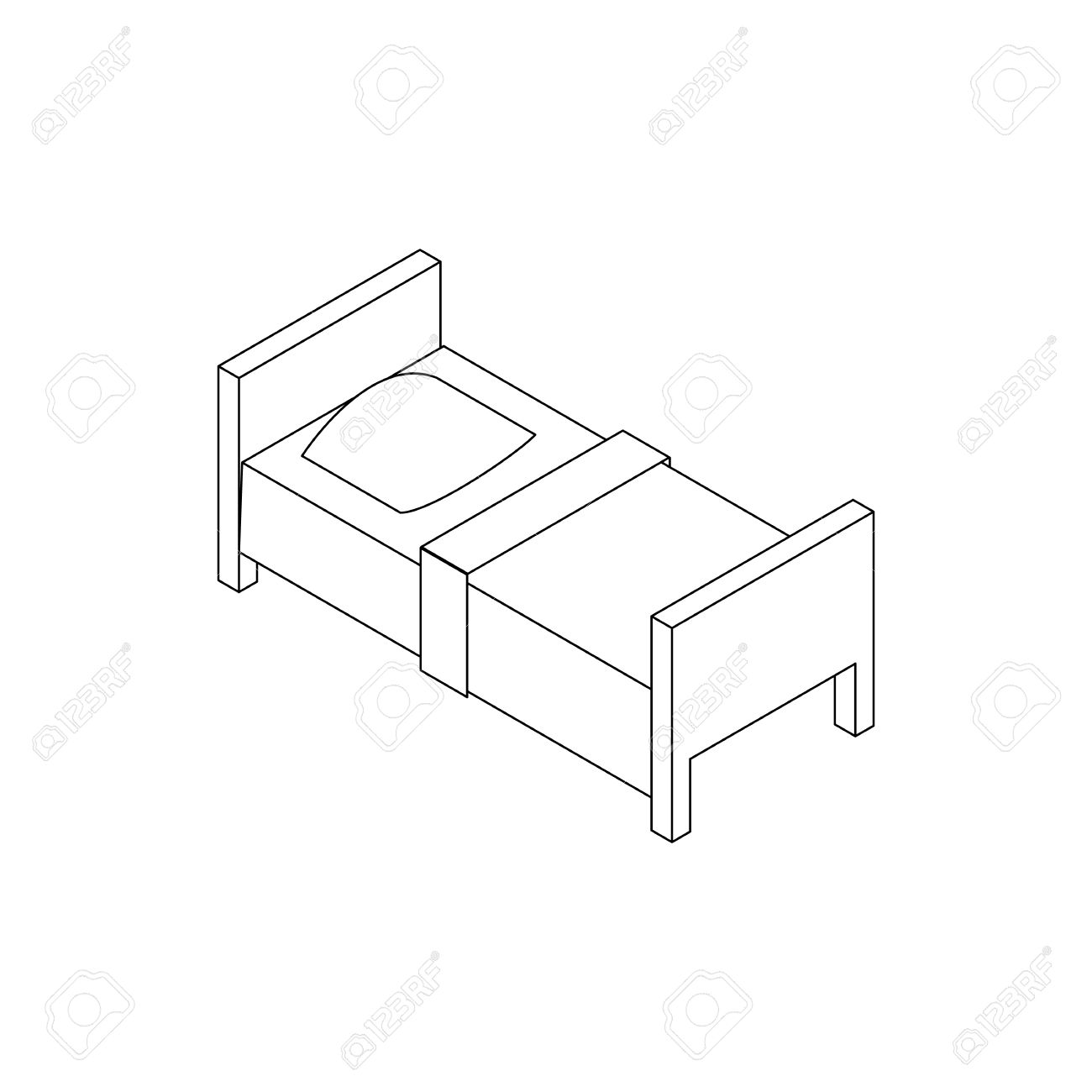1300x1300 Single Bed Icon In Isometric 3d Style Isolated On White Background