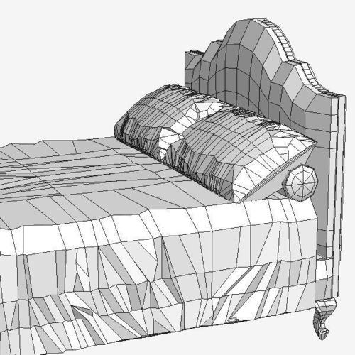 500x500 3d Model Classical Bed Cgtrader