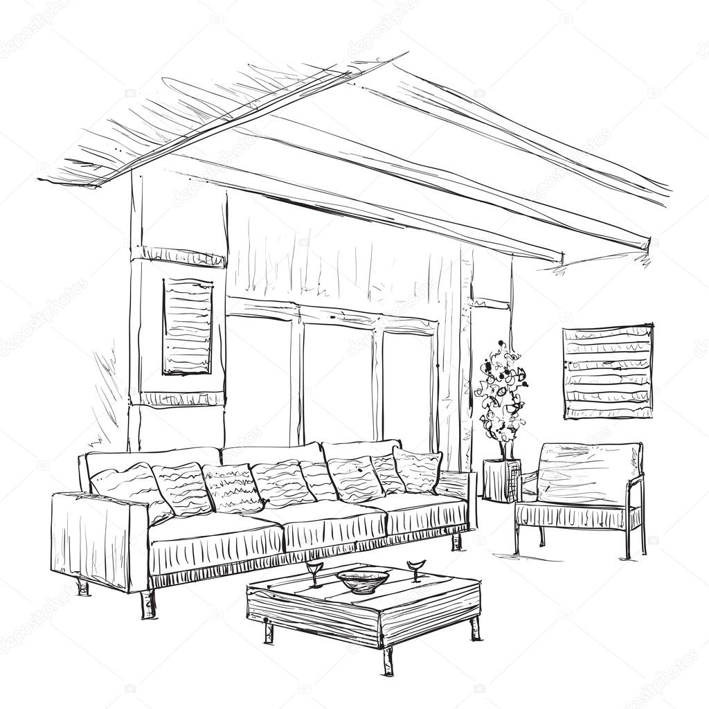1024x1024 Interior Room Sketch