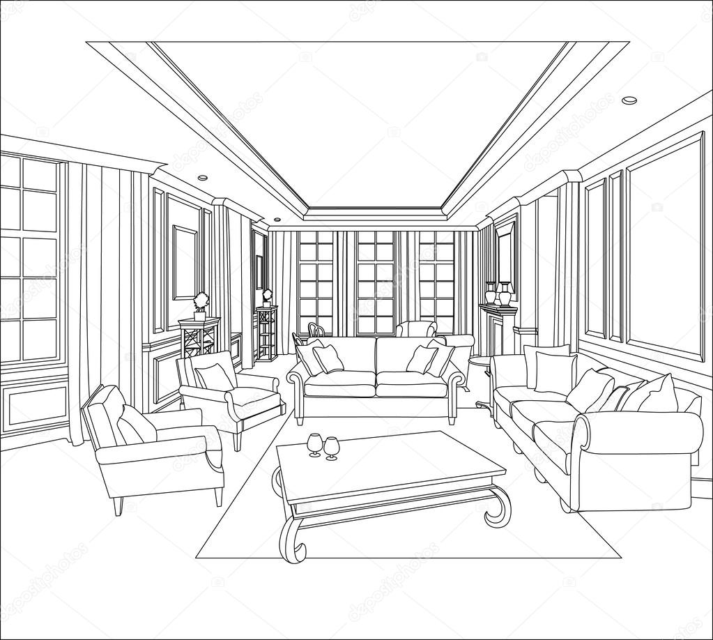 1023x918 3d Graphical Drawing Interior Stock Vector Polina21
