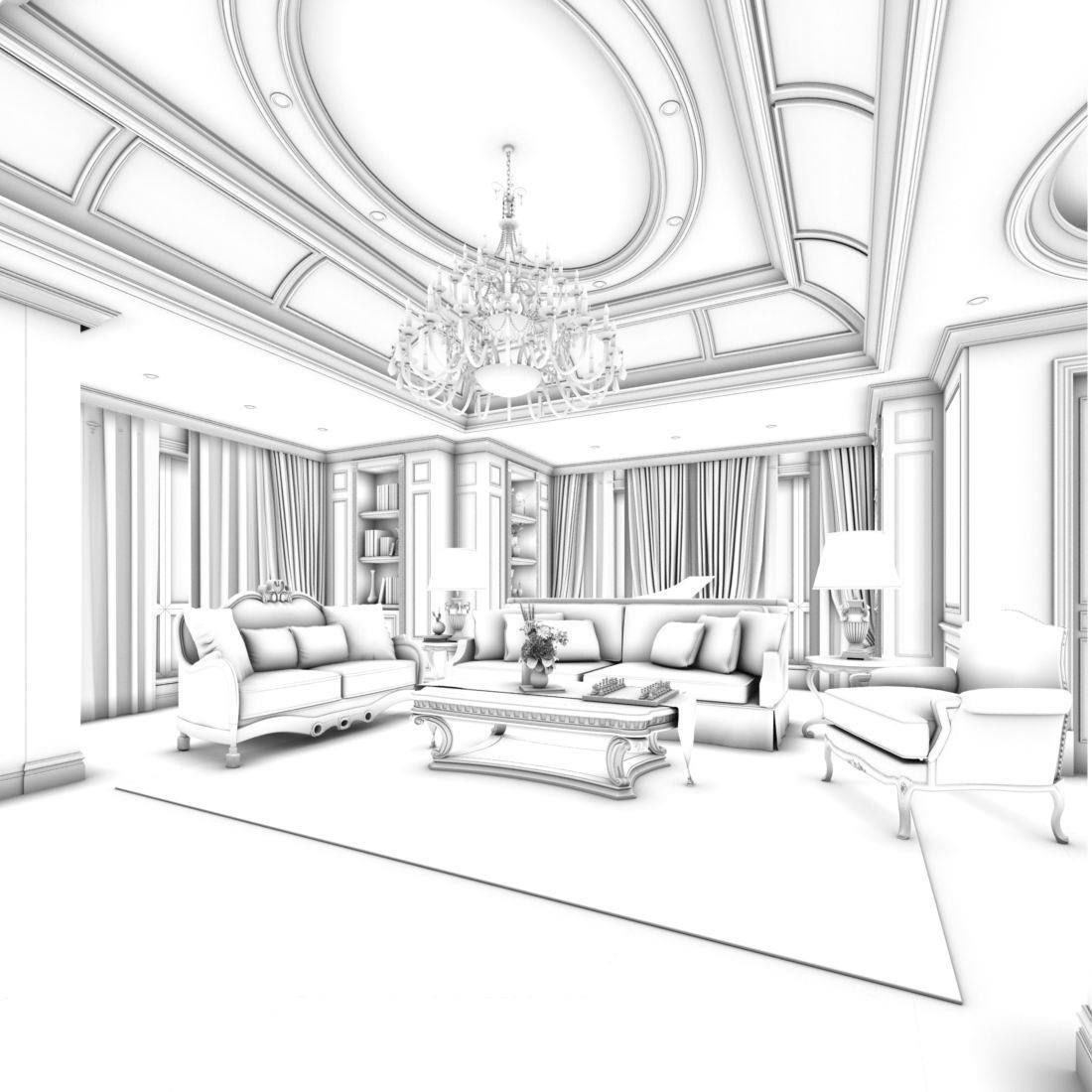 1100x1100 3d Model Child European Style Living Room Design Cgtrader