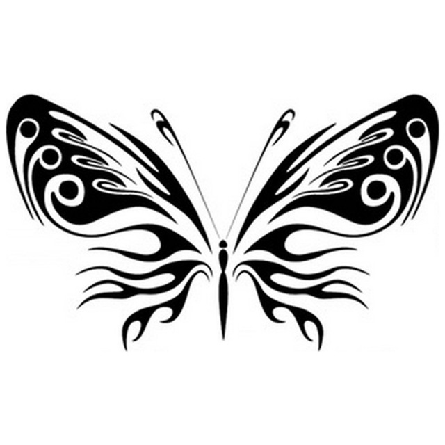 640x640 Oversize 3d Butterfly Wall Sticker Black Pvc Decal Fashion Home
