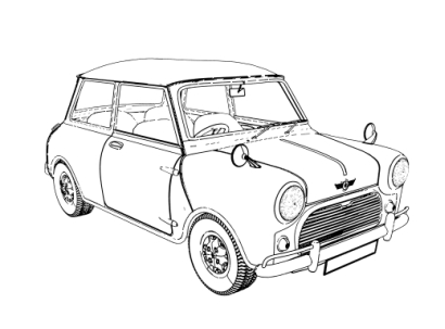 3d car drawing at getdrawings free for personal use 3d car Classic Mini Cooper Pickup Truck 410x303 outline rendering of 3d models pov ray