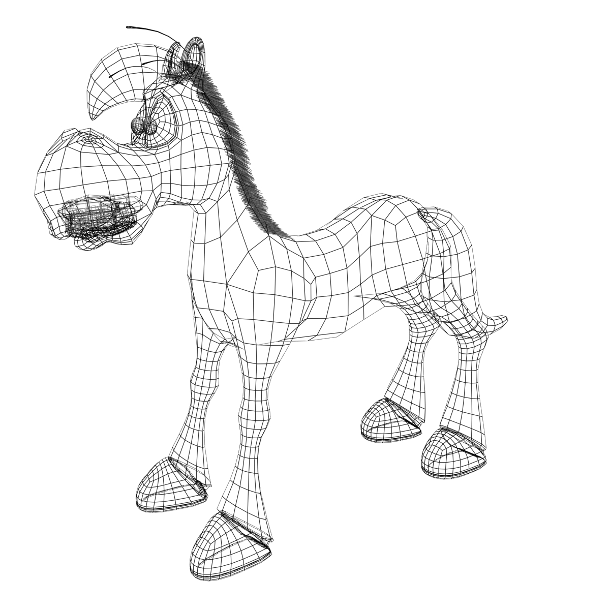 1200x1200 Cartoon Horse Rigged And Animated 3d Model Animals 3d Models