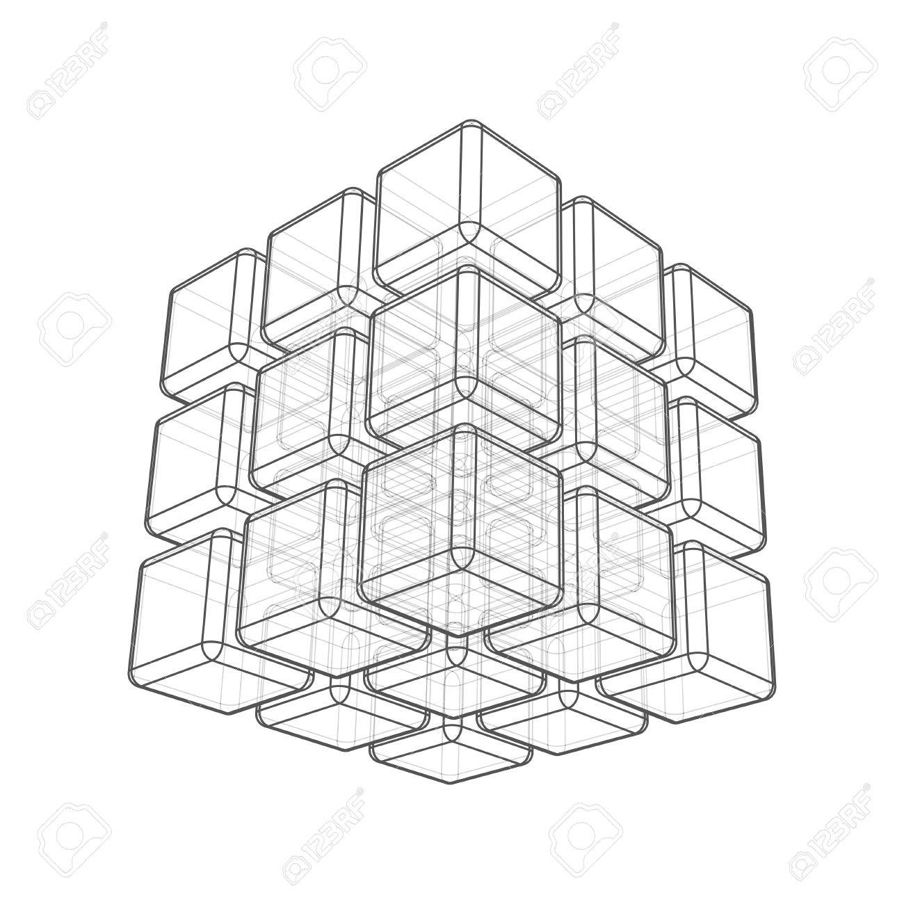 1300x1300 Cube 3d Wireframe On White Royalty Free Cliparts, Vectors,
