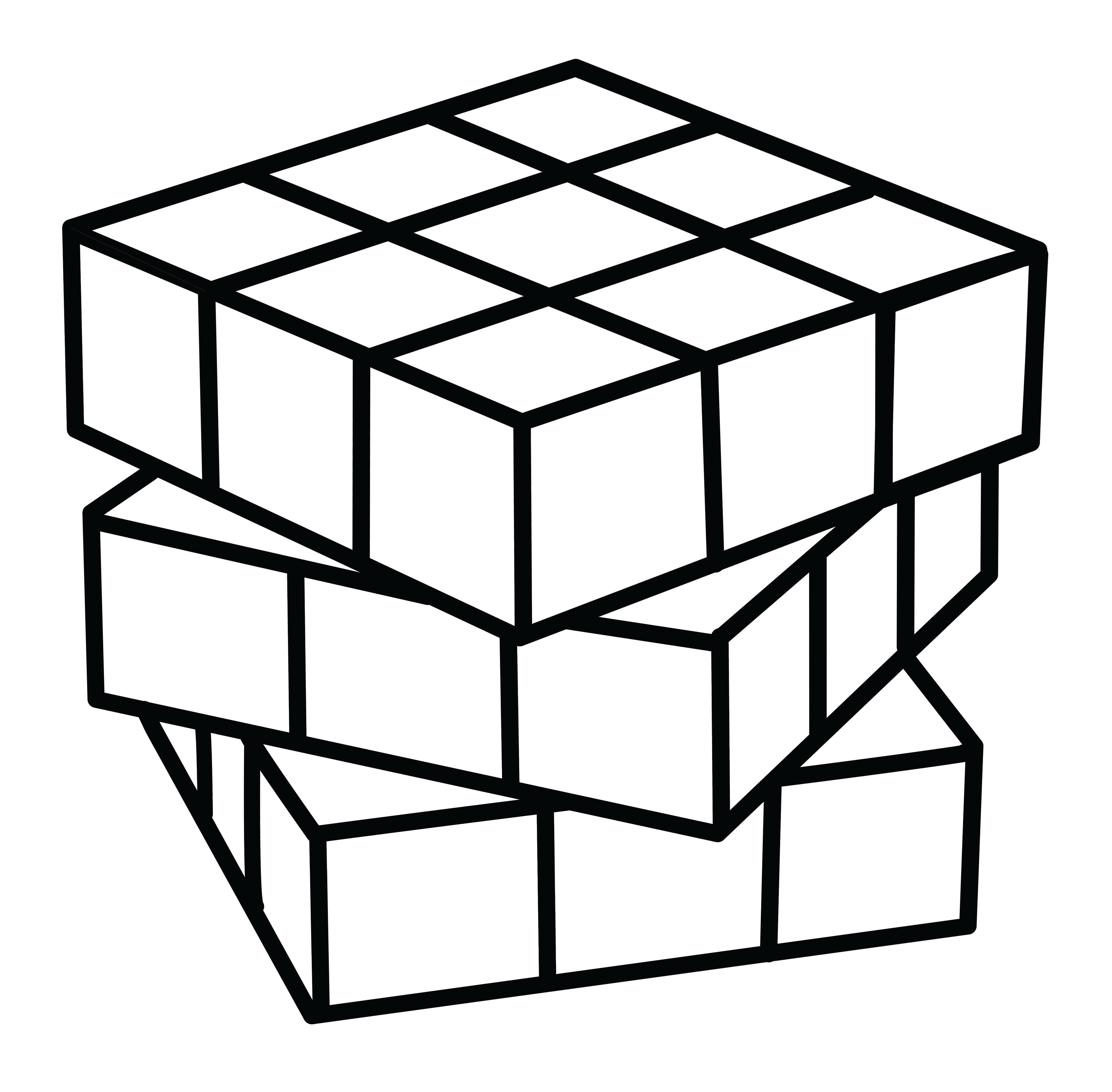 4542x4462 Rubiks Cube Coloring Page