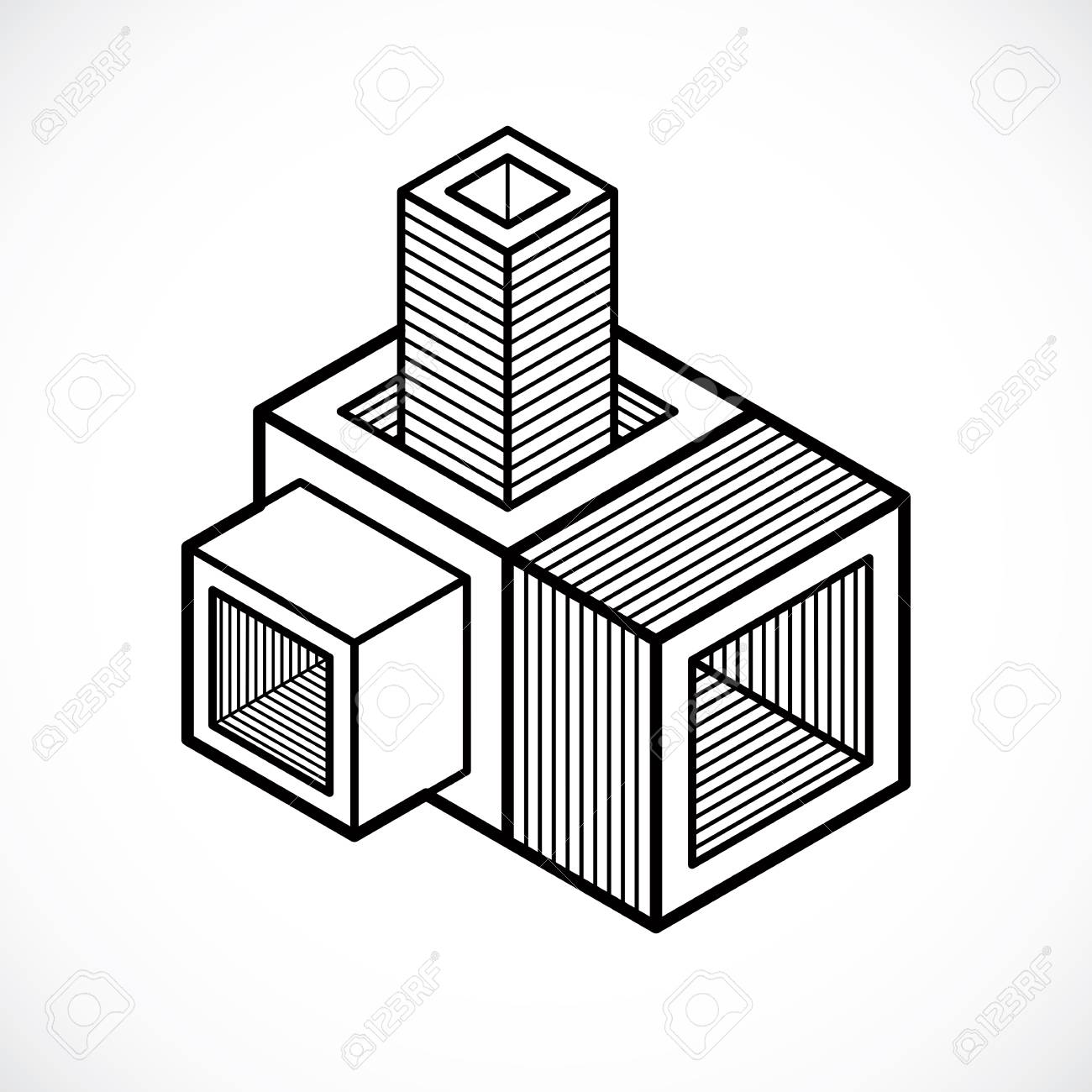 1300x1300 3d Design, Abstract Vector Cube Shape. Royalty Free Cliparts