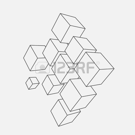 450x450 Abstract Vector Illustration. Composition Of 3d Cubes. Background